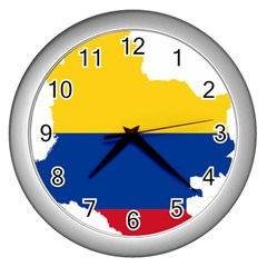 Flag Map Of Colombia Wall Clocks (silver)