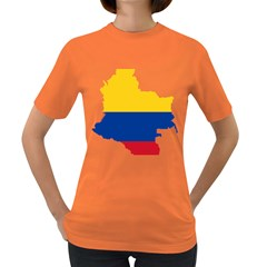 Flag Map Of Colombia Women s Dark T Shirt