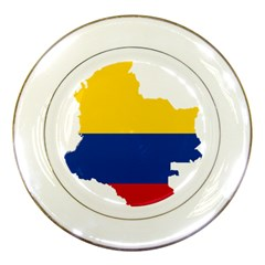 Flag Map Of Colombia Porcelain Plates