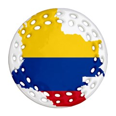 Flag Map Of Colombia Round Filigree Ornament (2side) by abbeyz71