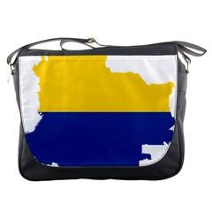 Flag Map Of Colombia Messenger Bags