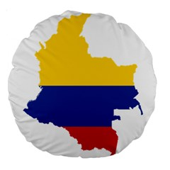 Flag Map Of Colombia Large 18  Premium Round Cushions