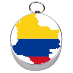 Flag Map Of Colombia Silver Compasses