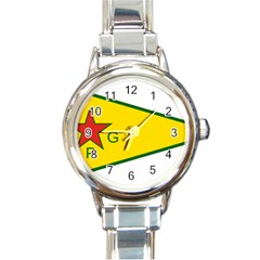 Flag Of The People s Protection Units Round Italian Charm Watch by abbeyz71