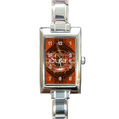 Surfing, Surfboard With Floral Elements  And Grunge In Red, Black Colors Rectangle Italian Charm Watch by FantasyWorld7