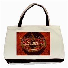 Surfing, Surfboard With Floral Elements  And Grunge In Red, Black Colors Basic Tote Bag by FantasyWorld7