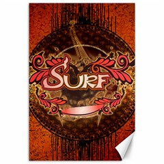 Surfing, Surfboard With Floral Elements  And Grunge In Red, Black Colors Canvas 24  X 36  by FantasyWorld7