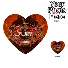 Surfing, Surfboard With Floral Elements  And Grunge In Red, Black Colors Multi Purpose Cards (heart)  by FantasyWorld7