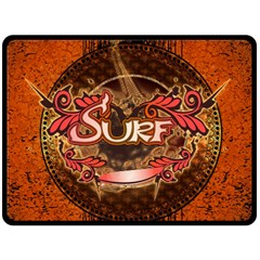 Surfing, Surfboard With Floral Elements  And Grunge In Red, Black Colors Fleece Blanket (large)  by FantasyWorld7
