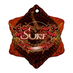 Surfing, Surfboard With Floral Elements  And Grunge In Red, Black Colors Ornament (snowflake)  by FantasyWorld7