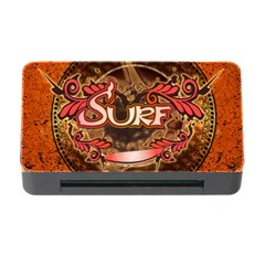Surfing, Surfboard With Floral Elements  And Grunge In Red, Black Colors Memory Card Reader With Cf by FantasyWorld7