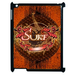 Surfing, Surfboard With Floral Elements  And Grunge In Red, Black Colors Apple Ipad 2 Case (black) by FantasyWorld7