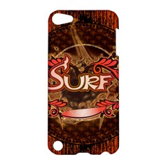 Surfing, Surfboard With Floral Elements  And Grunge In Red, Black Colors Apple Ipod Touch 5 Hardshell Case by FantasyWorld7