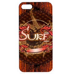 Surfing, Surfboard With Floral Elements  And Grunge In Red, Black Colors Apple Iphone 5 Hardshell Case With Stand by FantasyWorld7
