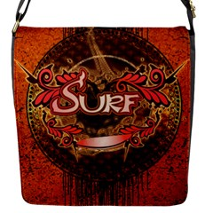 Surfing, Surfboard With Floral Elements  And Grunge In Red, Black Colors Flap Messenger Bag (s) by FantasyWorld7