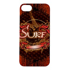 Surfing, Surfboard With Floral Elements  And Grunge In Red, Black Colors Apple Iphone 5s/ Se Hardshell Case by FantasyWorld7