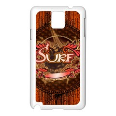 Surfing, Surfboard With Floral Elements  And Grunge In Red, Black Colors Samsung Galaxy Note 3 N9005 Case (white) by FantasyWorld7