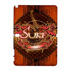 Surfing, Surfboard With Floral Elements  And Grunge In Red, Black Colors Samsung Galaxy Note 10 1 (p600) Hardshell Case by FantasyWorld7
