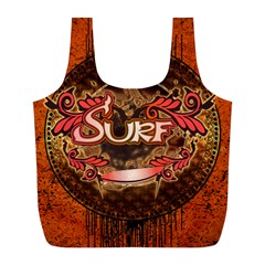 Surfing, Surfboard With Floral Elements  And Grunge In Red, Black Colors Full Print Recycle Bags (l)  by FantasyWorld7