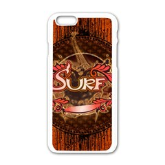 Surfing, Surfboard With Floral Elements  And Grunge In Red, Black Colors Apple Iphone 6/6s White Enamel Case by FantasyWorld7