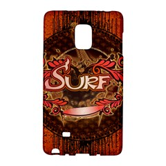 Surfing, Surfboard With Floral Elements  And Grunge In Red, Black Colors Galaxy Note Edge by FantasyWorld7