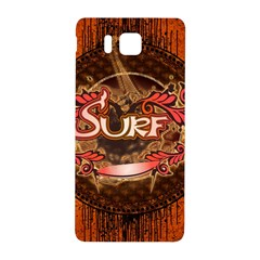 Surfing, Surfboard With Floral Elements  And Grunge In Red, Black Colors Samsung Galaxy Alpha Hardshell Back Case by FantasyWorld7