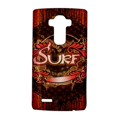 Surfing, Surfboard With Floral Elements  And Grunge In Red, Black Colors Lg G4 Hardshell Case by FantasyWorld7