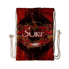 Surfing, Surfboard With Floral Elements  And Grunge In Red, Black Colors Drawstring Bag (small) by FantasyWorld7