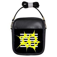 Yellow Abstraction Girls Sling Bags by Valentinaart