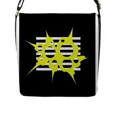 Yellow Abstraction Flap Messenger Bag (l)  by Valentinaart