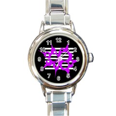 Purple Abstraction Round Italian Charm Watch by Valentinaart