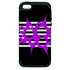 Purple Abstraction Apple Iphone 5 Hardshell Case (pc+silicone) by Valentinaart