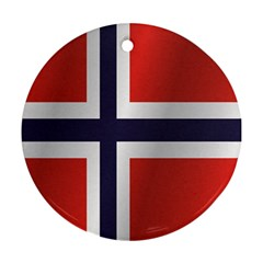 Flag Of Norway Round Ornament (Two Sides)  by artpics