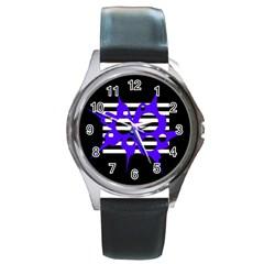 Blue Abstract Design Round Metal Watch by Valentinaart