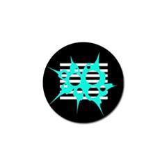 Cyan Abstract Design Golf Ball Marker (4 Pack) by Valentinaart