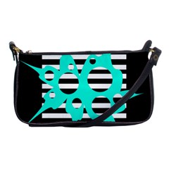 Cyan Abstract Design Shoulder Clutch Bags by Valentinaart