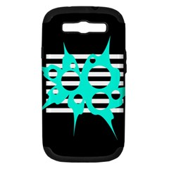 Cyan Abstract Design Samsung Galaxy S Iii Hardshell Case (pc+silicone) by Valentinaart