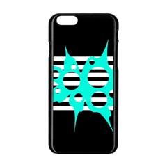 Cyan Abstract Design Apple Iphone 6/6s Black Enamel Case by Valentinaart