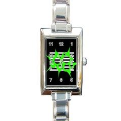 Green Abstract Design Rectangle Italian Charm Watch by Valentinaart