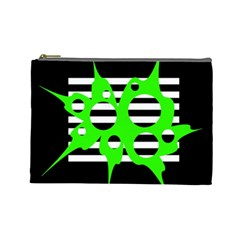 Green Abstract Design Cosmetic Bag (large)  by Valentinaart