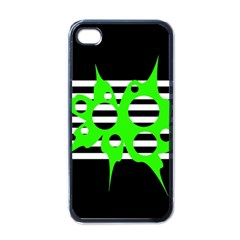 Green Abstract Design Apple Iphone 4 Case (black) by Valentinaart