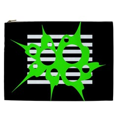 Green Abstract Design Cosmetic Bag (xxl)  by Valentinaart
