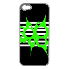 Green Abstract Design Apple Iphone 5 Case (silver) by Valentinaart