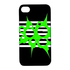 Green Abstract Design Apple Iphone 4/4s Hardshell Case With Stand by Valentinaart