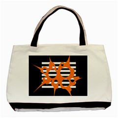 Orange Abstract Design Basic Tote Bag by Valentinaart