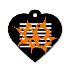 Orange Abstract Design Dog Tag Heart (one Side) by Valentinaart