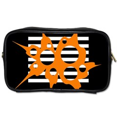 Orange Abstract Design Toiletries Bags 2 Side by Valentinaart