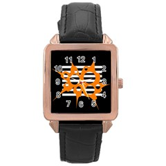 Orange Abstract Design Rose Gold Leather Watch  by Valentinaart