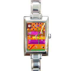 Orange Abstraction Rectangle Italian Charm Watch by Valentinaart