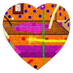 Orange Abstraction Jigsaw Puzzle (heart) by Valentinaart